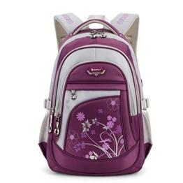 Leefrei Schulrucksack Schulranzen Schultasche Sports Rucksack Freizeitrucksack Daypacks Backpack für Mädchen Jungen & Kinder Damen Herren Jugendliche mit der Großen Kapazität (Lila-Blume) -